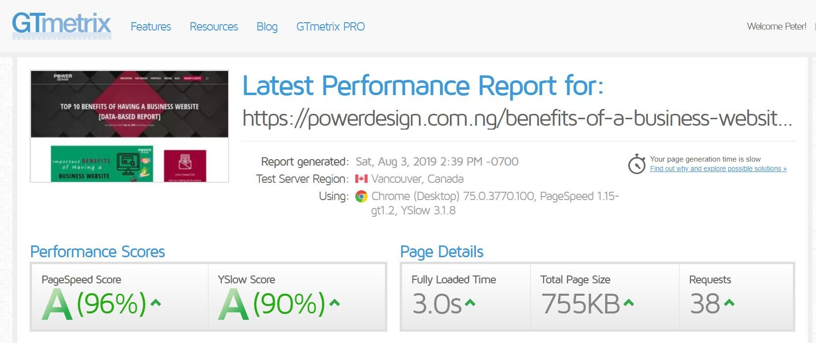 Powerdesign Gtmetrix result